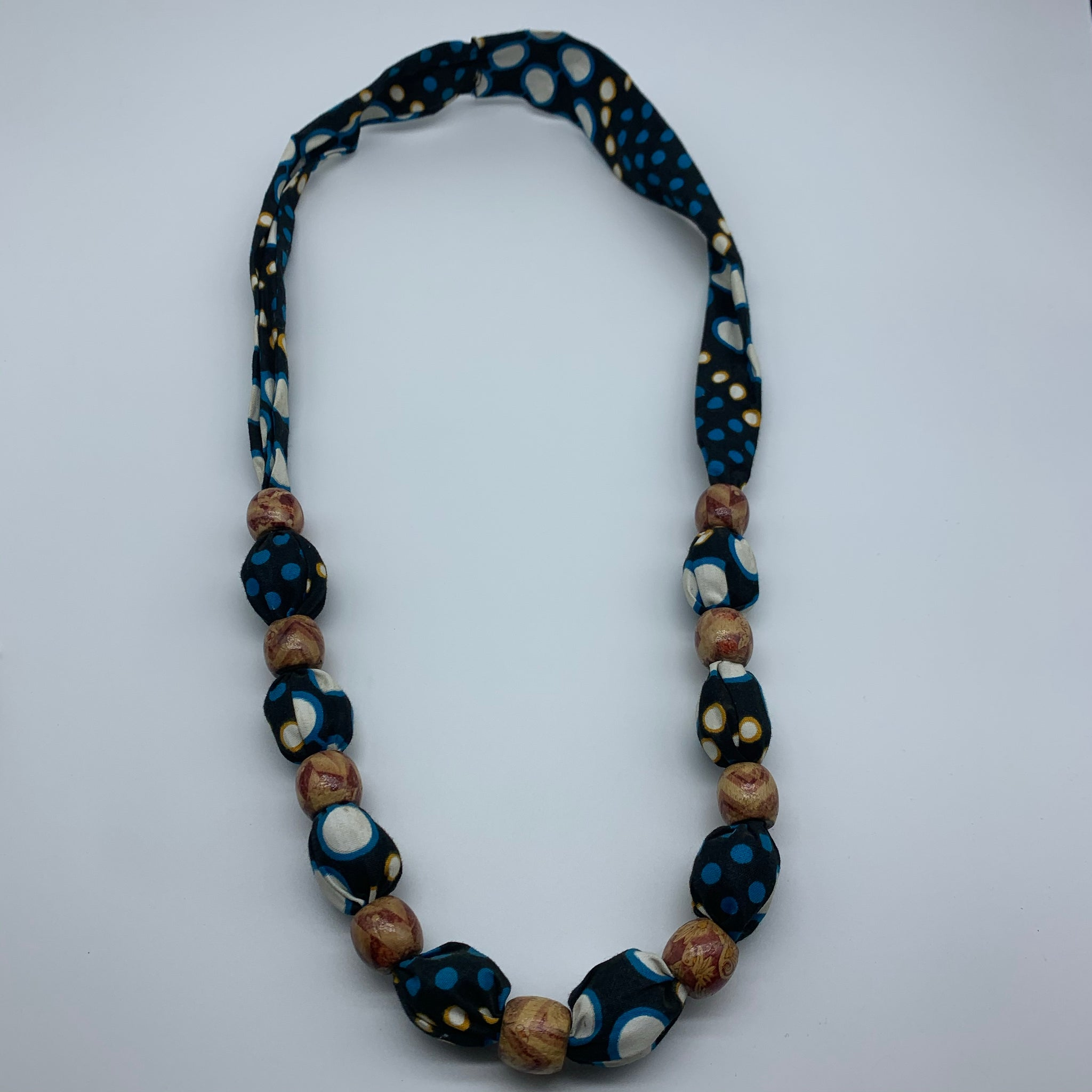 African Print Necklace W/Wooden Beads- L Black Variation