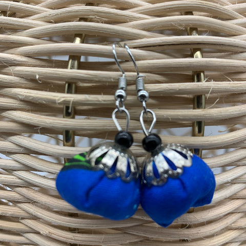 African Print Earrings W/ Beads-Puff Ball Blue Variation 2