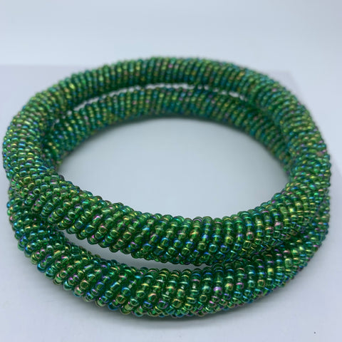 Beaded Bangle-Metallic Green