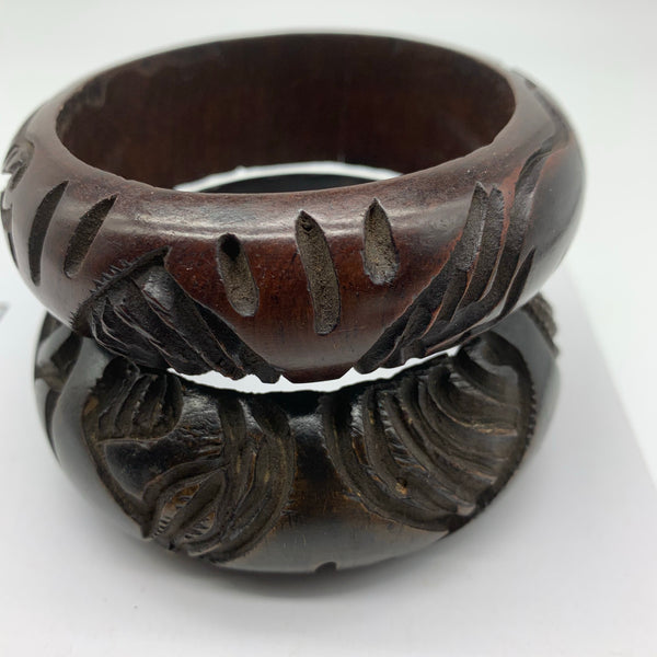 Wooden Bangle-L Carved Brown Variation 2 - Lillon Boutique