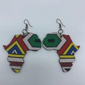 African Print Earrings-Africa Map Multi Colour 2