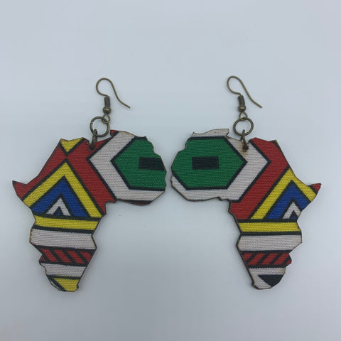 African Print Earrings-Africa Map Multi Colour 2 - Lillon Boutique