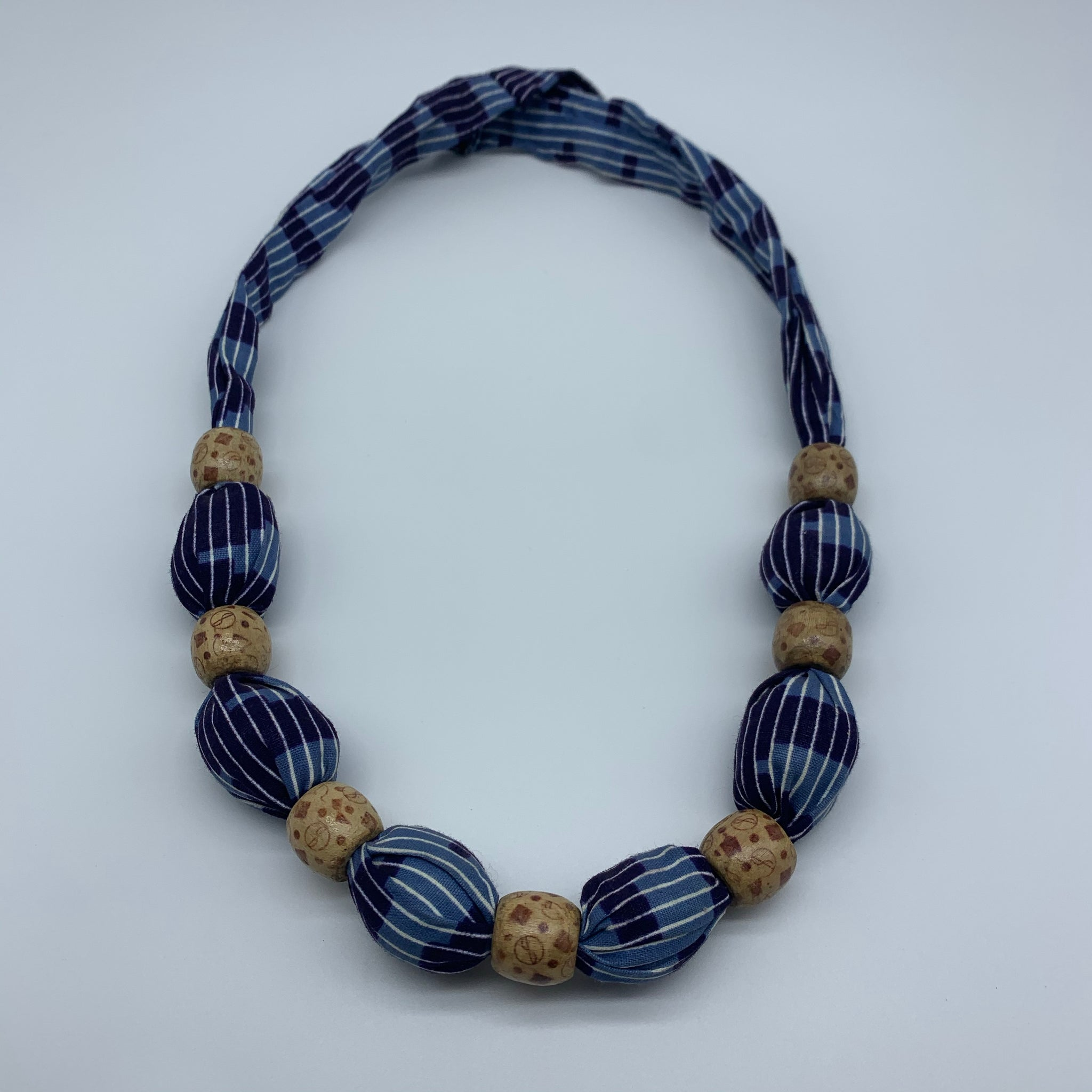 African Print Necklace W/Wooden Beads-Blue Variation 2