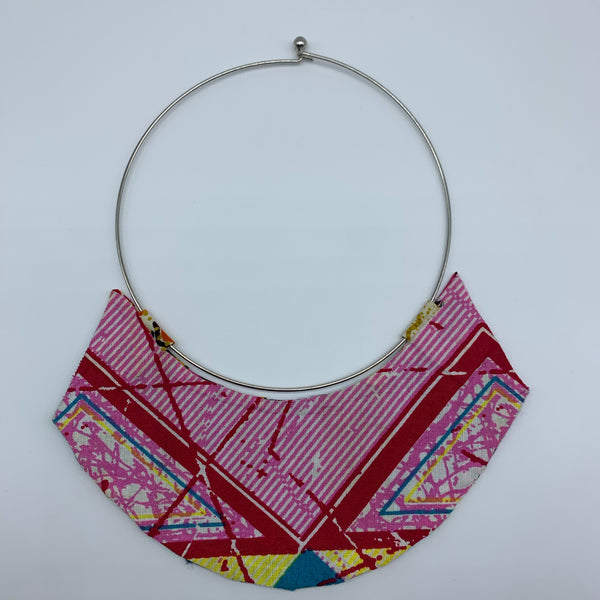 African Print Bangle Thin Necklace-Reversible Pink Variation 3 - Lillon Boutique