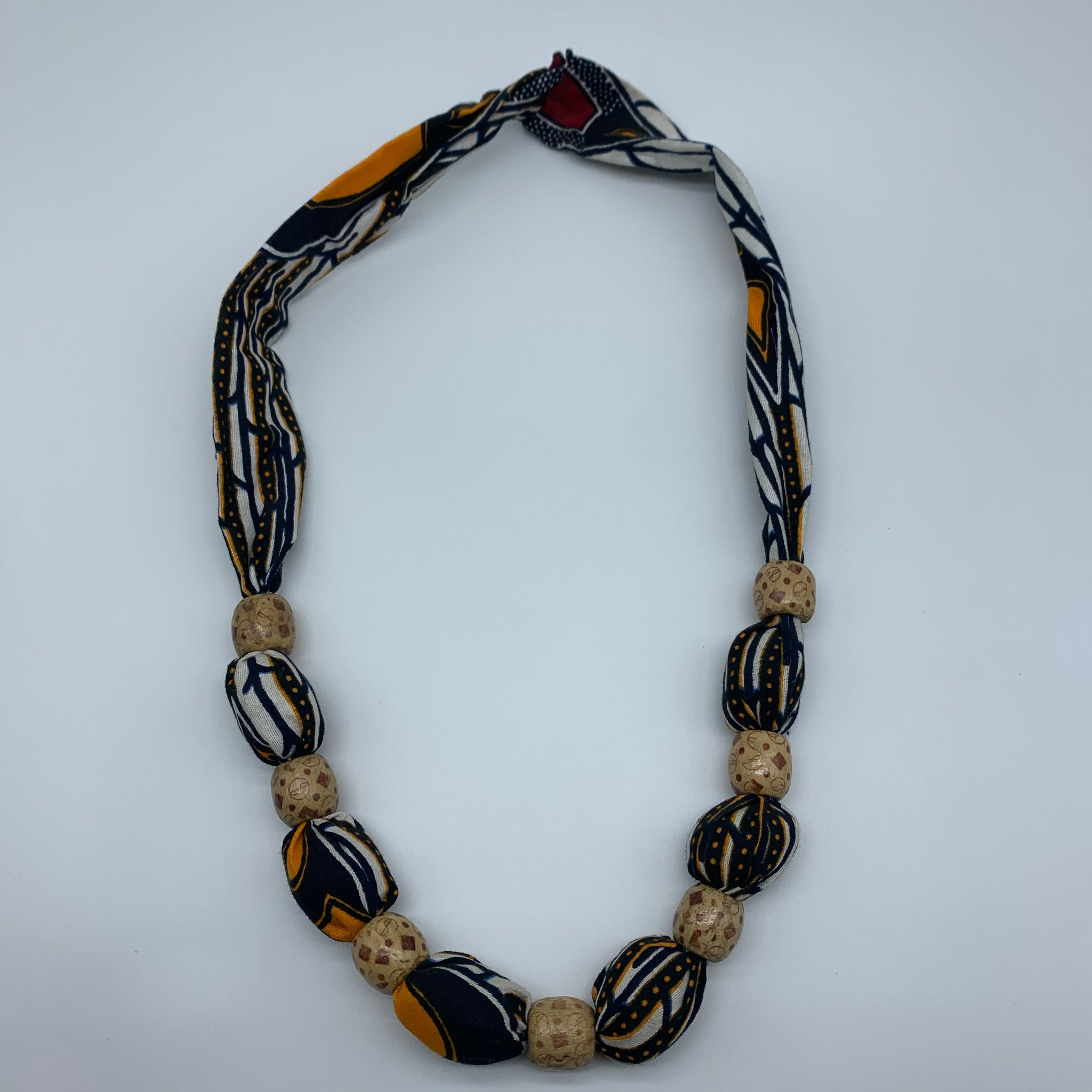 African Print Necklace W/Wooden Beads-Black Variation 3