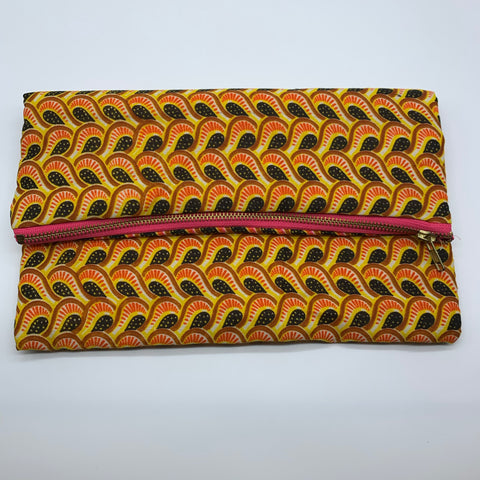 African Print Clutch- L Yellow Variation - Lillon Boutique