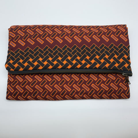 African Print Clutch- L Red Variation Variation - Lillon Boutique