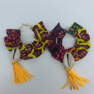 African Print W/Shell Earrings-Ruffle Hoops Red Variation - Lillon Boutique