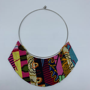 African Print Bangle Thin Necklace-Reversible Pink Variation 3