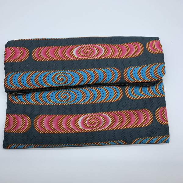African Print Clutch- L Grey Variation