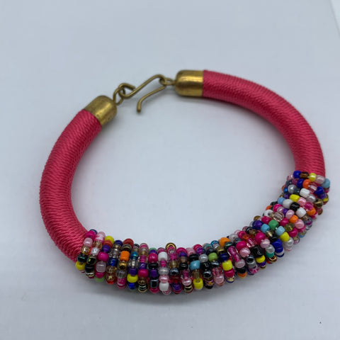 Beaded Thread Bangle-Pink Variation