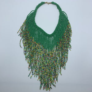 Beaded Necklace-Waterfall M Green Variation