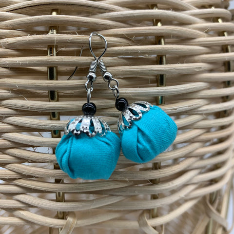 African Print Earrings W/ Beads-Puff Ball Blue Variation
