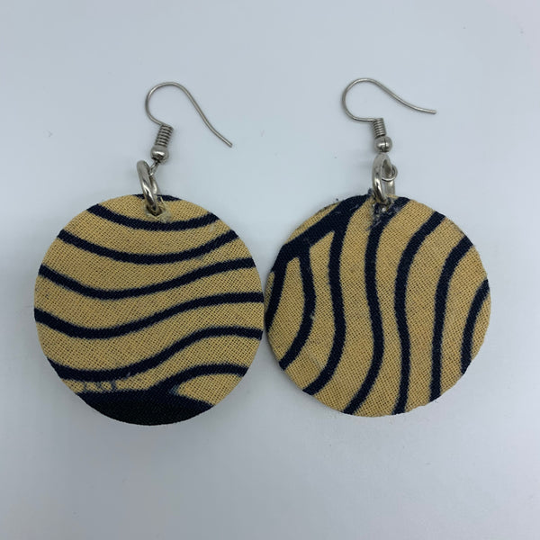 African Print Earrings-Round XS Beige Variation 6 - Lillon Boutique