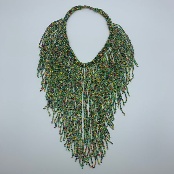 Beaded Necklace-Waterfall M Green Variation 2 - Lillon Boutique