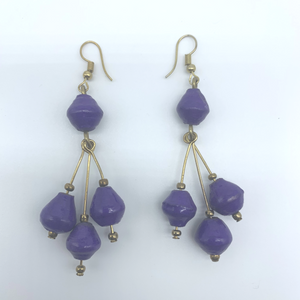Recycled Paper Earrings-Purple Variation - Lillon Boutique