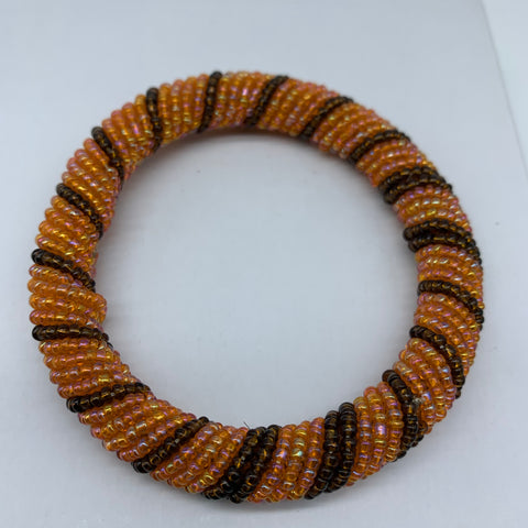 Beaded Bangle-Orange and Metallic Variation - Lillon Boutique