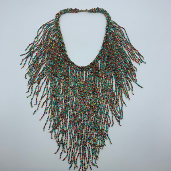 Beaded Necklace-Waterfall M Green Variation 3
