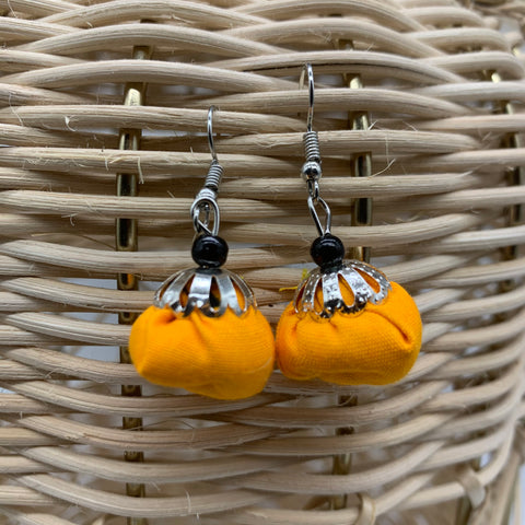 African Print Earrings W/Beads-Puff Ball Orange Variation