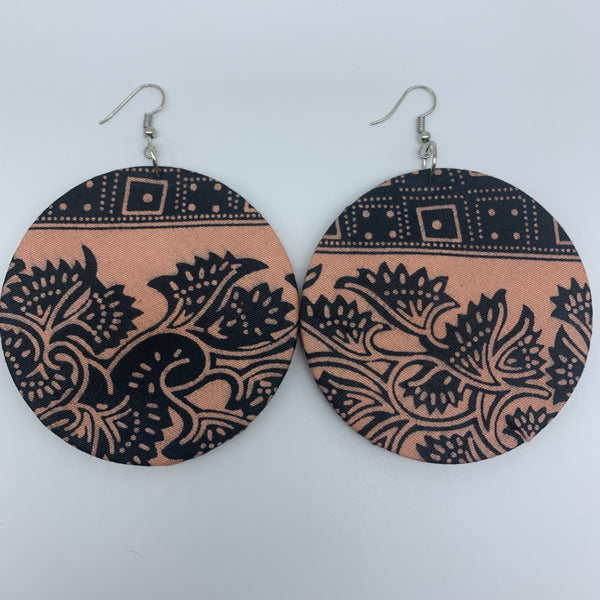 African Print Earrings-Round L Pink Variation 3 - Lillon Boutique