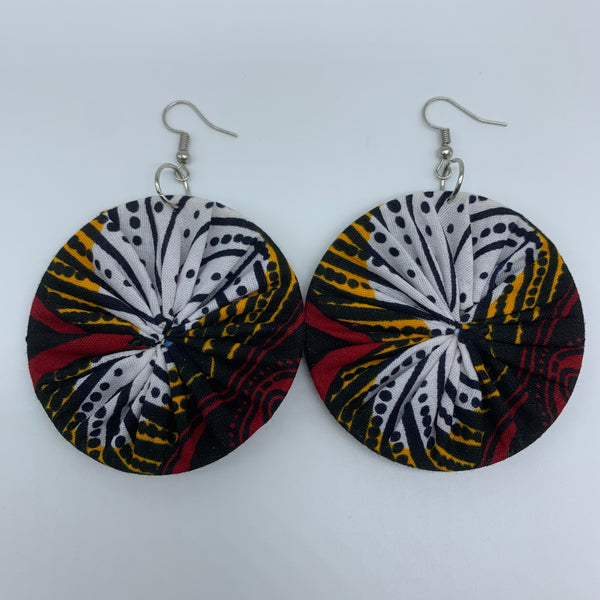 African Print Earrings-Round M Red Variation 19