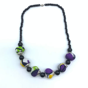 African Print Necklace W/ Beads-Purple Variation 5 - Lillon Boutique