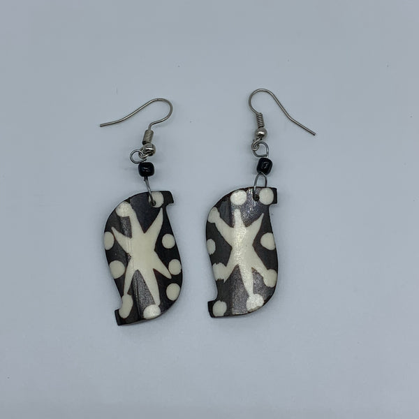 Cow Bone Earrings-Black and White 11 - Lillon Boutique
