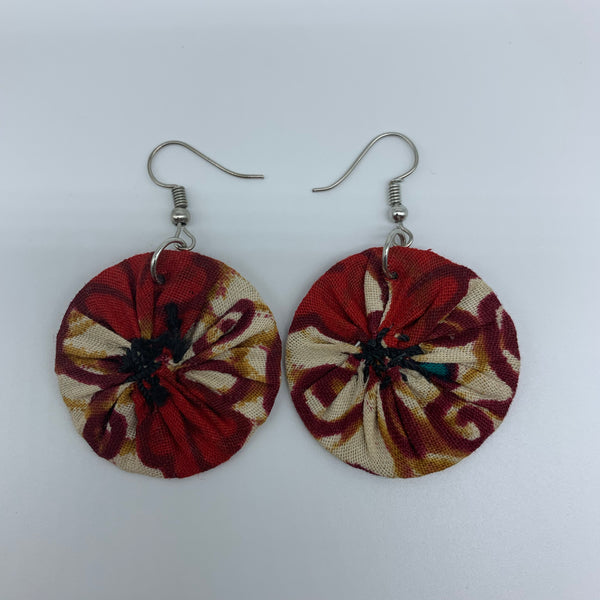 African Print Earrings-Round XS Red Variation 11