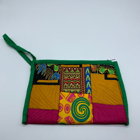 African Print Clutch /W Handle- Zoba Zoba Green Variation - Lillon Boutique