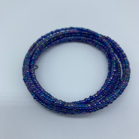 Beaded Coil Bracelet-Blue Variation 2 - Lillon Boutique