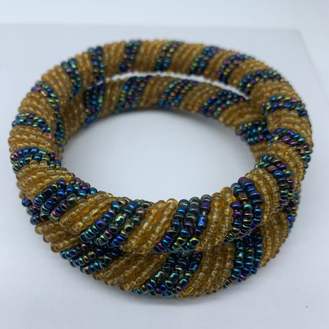 Beaded Bangle-Gold and Mutli Colour Variation 2 - Lillon Boutique