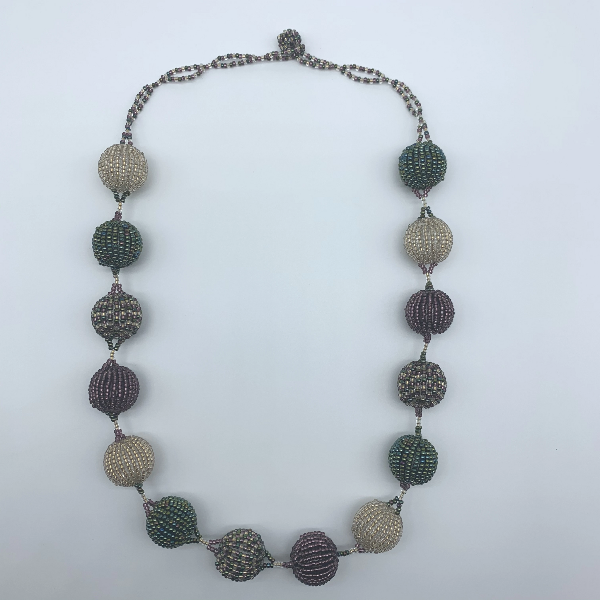 Beaded Necklace-Spaced Marble Multi Colour Variation