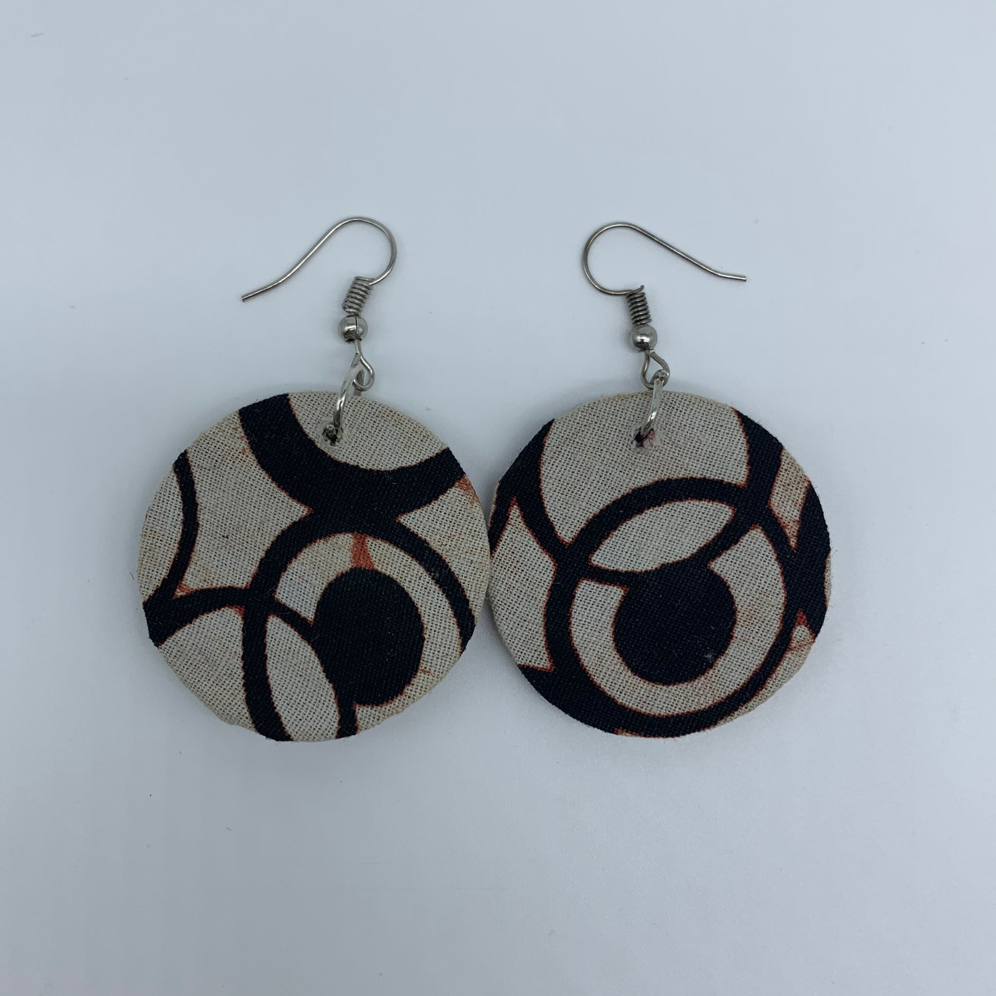 African Print Earrings-Round XS Beige Variation 5