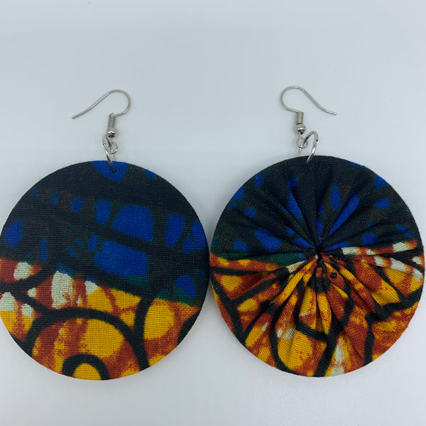 African Print Earrings-Round M Blue Variation 25