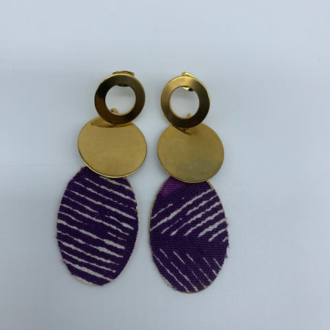 African Print Earrings-Metal Purple Variation