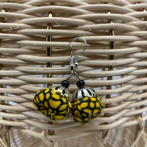 African Print Earrings W/ Beads-Puff Ball Yellow Variation