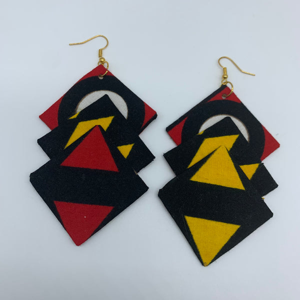 African Print Earrings-3 Squares Reversible Red Variation 2