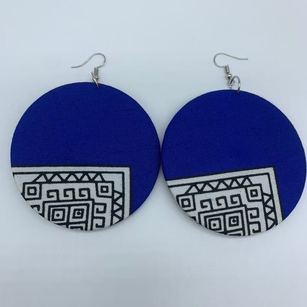 African Print Earrings-Round L Blue Variation 11