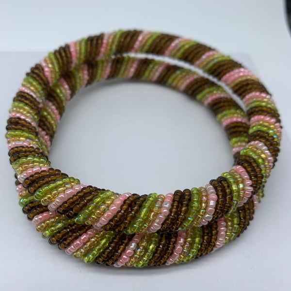 Beaded Bangle-Metallic Pink Variation 2