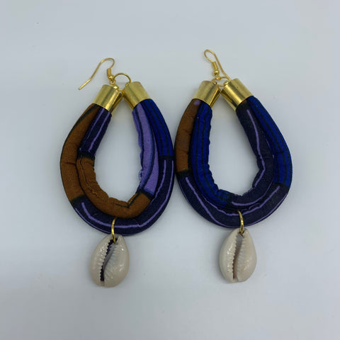 African Print W/Shell Earrings- IC Blue Variation 2