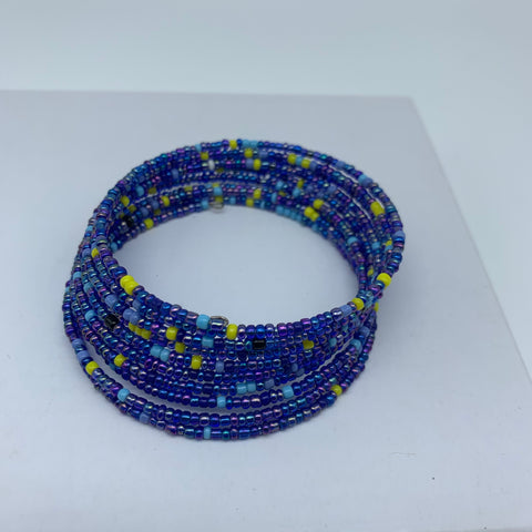 Beaded Coil Bracelet-Blue Variation - Lillon Boutique