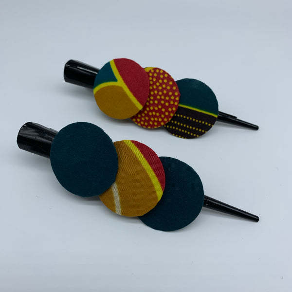 African Print Hair Clip- L Green Variation 3 - Lillon Boutique