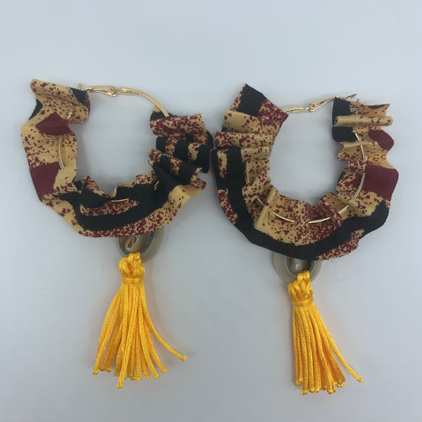 African Print W/Shell Earrings-Ruffle Hoops Red Variation 2