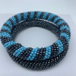 Beaded Bangle-Blue Metallic Variation
