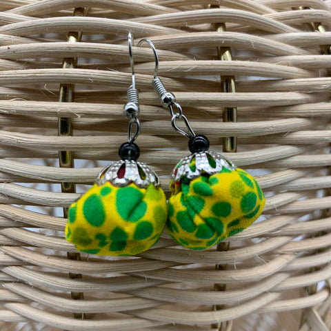 African Print Earrings W/ Beads-Puff Ball Green Variation
