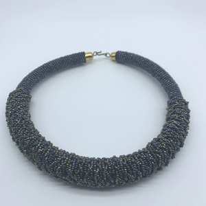 Beaded  L Bangle Necklace-Dark Grey Metallic Variation - Lillon Boutique