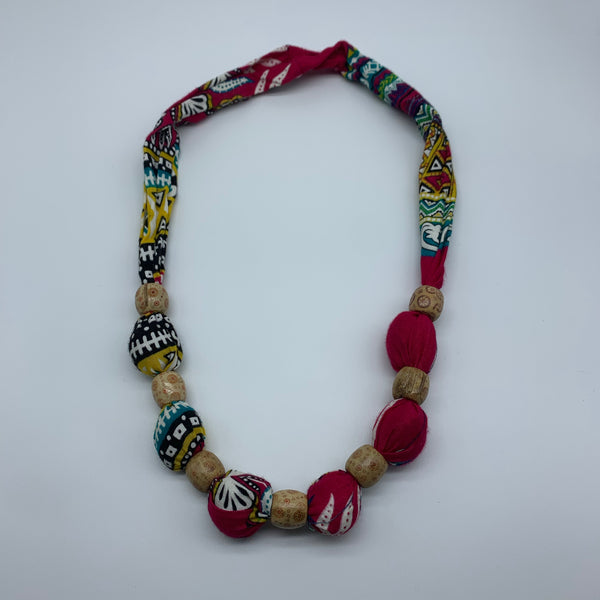 African Print Necklace W/Wooden Beads-Pink Variation 2