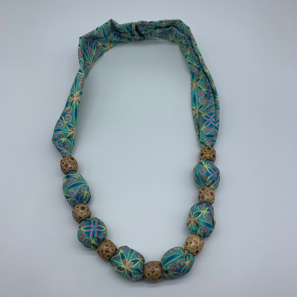 African Print Necklace W/Wooden Beads-Blue Variation 5