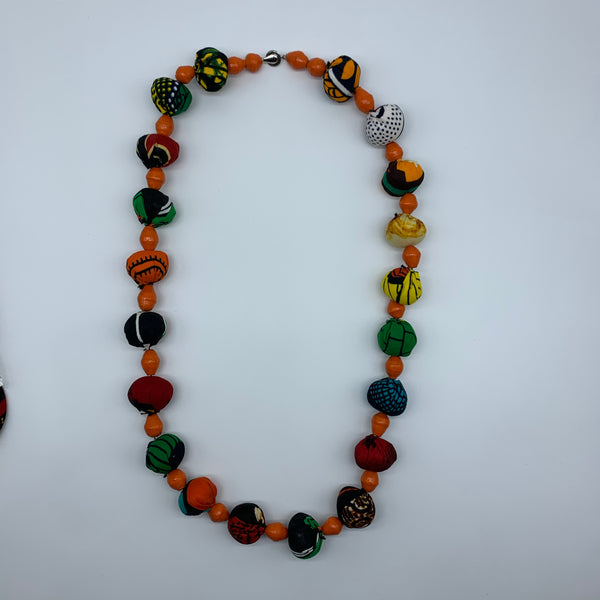 African Print Necklace W/Recycled Paper Beads-Orange Variation