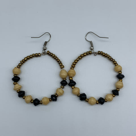 Recycled Paper W/Beads Earrings-Beige Variation